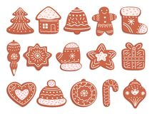 Free Gingerbread Cookies. Christmas Bread, Ornament Ginger Biscuits With Glaze Decoration. Isolated Holiday Sweet Cakes, Xmas Royalty Free Stock Photos - 197433828
