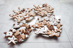 Gingerbread cookies or christmas cookie. Close up Stock Images