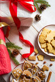 Gingerbread Cookies within Christmas decorations Stock Images