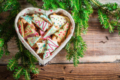 Gingerbread cookies for Christmas in the heart Stock Photo
