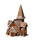 Gingerbread cookies Christmas house isolated. On white background stock image
