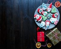 Gingerbread cookies for christmas, new year on the wooden table. Festive, sweet pastry, delicious biscuits. stock images