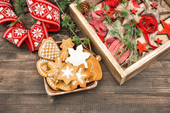Gingerbread cookies and Christmas ornaments. Home decoration Stock Photo