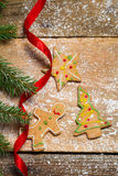 Gingerbread cookies for Christmas with red ribbon Stock Photo
