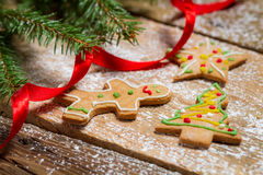 Gingerbread cookies for Christmas with red ribbon Royalty Free Stock Photo