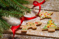 Gingerbread cookies for Christmas with red ribbon Stock Images