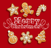 Gingerbread cookies christmas set. Illustration Stock Photography
