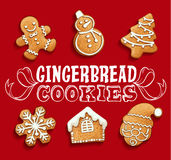 Gingerbread cookies christmas set. Illustration Royalty Free Stock Image