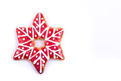 Gingerbread cookies christmas star. Gingerbread cookies and spices over white background close up christmas decoration Stock Photos