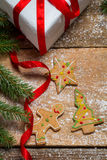 Gingerbread cookies for Christmas on the table with powdered sug Royalty Free Stock Images