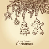 Gingerbread cookies on christmas tree. Hand drawn gingerbread cookies on christmas tree, for xmas design Stock Photo