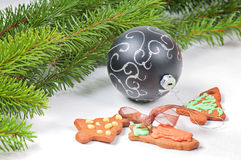 Gingerbread cookies with christmas tree and ball Royalty Free Stock Photo