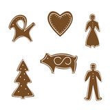 Gingerbread cookies for Christmas. Vector Stock Images