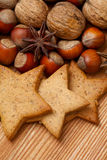 Gingerbread cookies with cinnamon, anise and nuts Royalty Free Stock Image