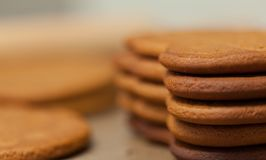 Gingerbread cookies close up background. Horizontal image Stock Images