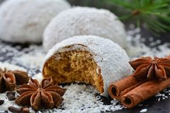 Gingerbread cookies with coconut frosting and spices Stock Photography