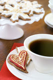 Gingerbread cookies and coffee Stock Photos