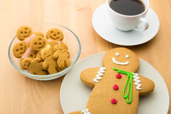 Gingerbread cookies and coffee Royalty Free Stock Images