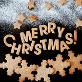 Gingerbread Cookies, Congratulation with Merry Christmas Stock Image