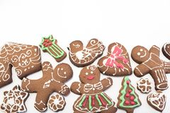 Gingerbread  Cookies with Copy Space Royalty Free Stock Images