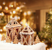 Gingerbread cookies cottages Christmas tree room stock image