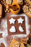 Gingerbread cookies decorated with icing sugar Stock Images