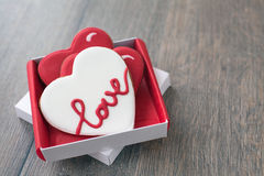 Gingerbread cookies decorated for valentine day Stock Photography