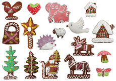Gingerbread cookies of different shapes, isolated Stock Photography