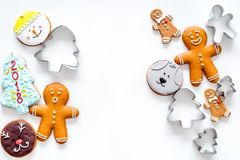 Gingerbread cookies of different shapes on white background top view copyspace Royalty Free Stock Image