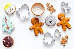 Gingerbread cookies of different shapes on white background top view copyspace Stock Image