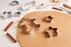 Gingerbread cookies dough preparation recipe with Royalty Free Stock Photos