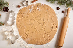 Gingerbread cookies dough preparation recipe with Royalty Free Stock Photography