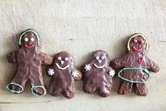 Gingerbread cookies family. Handmade in home. Stock Photo