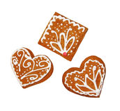 Gingerbread cookies with floral decoration, white background Stock Images