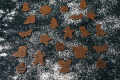 Gingerbread cookies on flour background royalty free stock photos