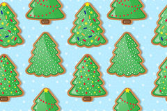Gingerbread cookies in form of christmas trees. Seamless Vector Background. royalty free illustration