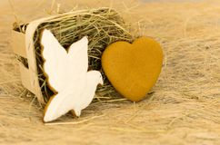 Gingerbread cookies in the form of a dove and heart. Valentine`s Day. Stock Images