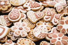 Gingerbread cookies in the form of a rabbit, flowers, hearts, grandmothers and Easter eggs stock photo