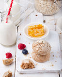 Gingerbread cookies with fresh berries and bottle of milk . Stock Photography