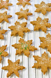 Gingerbread cookies. Fresh, hot. homemade star shaped gingerbread cookies on cooling rack Stock Photography