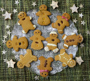 Gingerbread cookies on glass plate Royalty Free Stock Photography