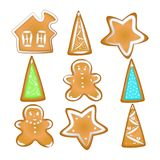 Collection of Christmas cookies. Homemade Gingerbread with spice. Gingerbread cookies with a glaze. Homemade pastries with spices. Isolatedw. A set of Christmas vector illustration