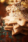 Gingerbread cookies with golden christmas decor Stock Image
