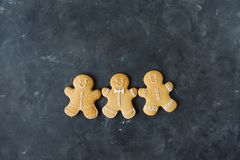 Gingerbread cookies on a gray background. Christmas cookies. Royalty Free Stock Photography