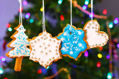 Gingerbread cookies hanging with Christmas tree on background. Royalty Free Stock Photos