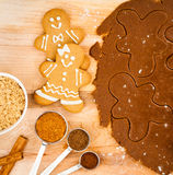Gingerbread Cookies. Happy Christmas Gingerbread cookies with dough, and spices stock photo