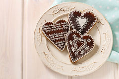 Gingerbread cookies in heart shape Stock Photo