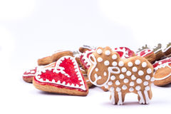 Gingerbread cookies heart. On white Stock Image