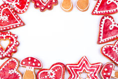Gingerbread cookies heart. On white Stock Images