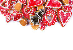 Gingerbread cookies heart. On white Royalty Free Stock Photography